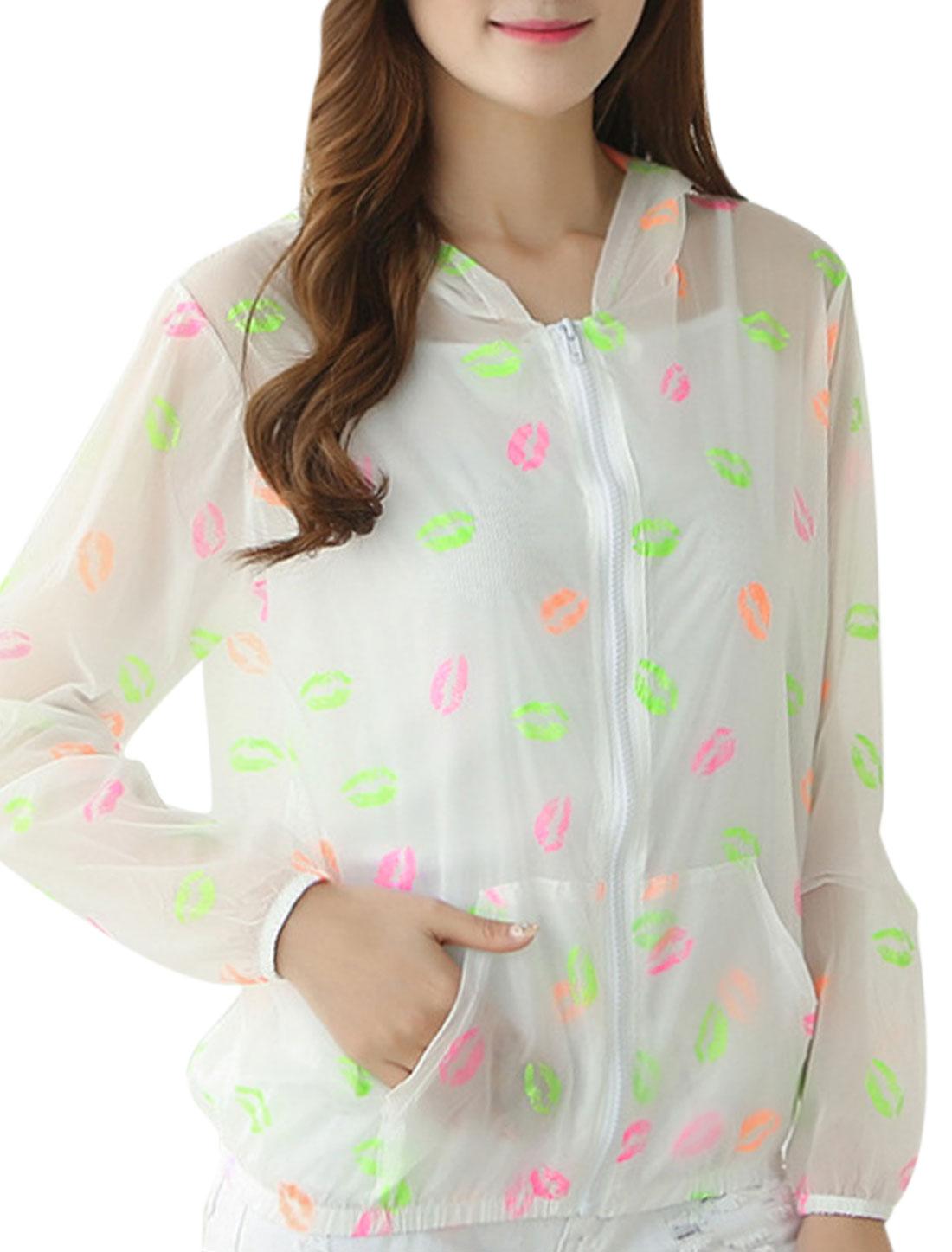 Woman Lips Pattern Long Sleeves Summer Hoodies Pink Fluorescence Green XS