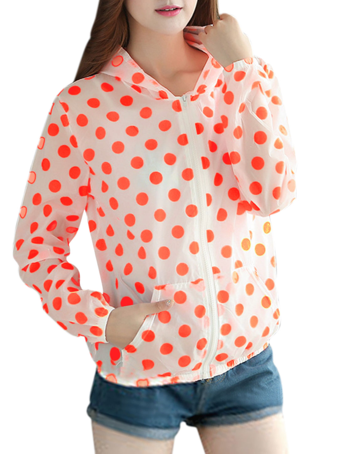 Woman Polka Dots Prints Zip Closure Casual Hoodies Fluorescence Orange XS