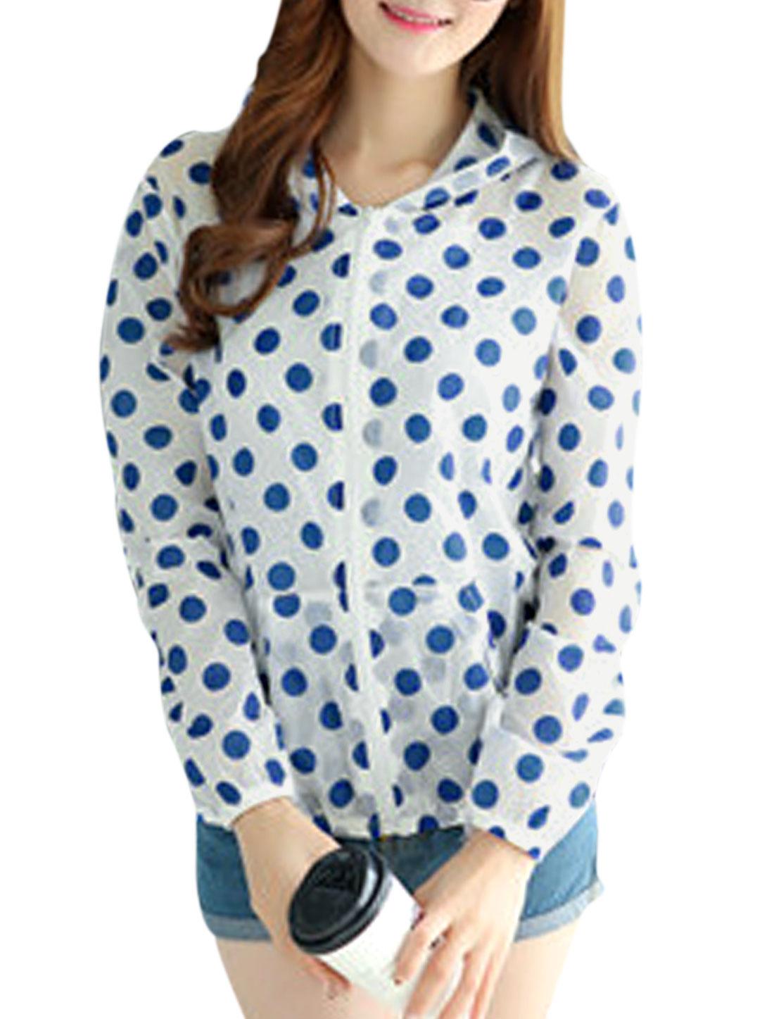 Woman Dots Prints Long Sleeves Pockets Front Summer Hoodies Dark Blue XS