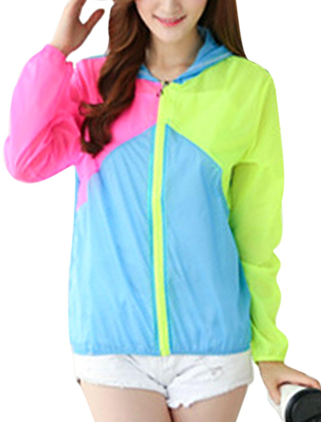 Woman Color Block Zip Up Long Sleeves Casual Summer Hoodies Fuchsia Blue XS