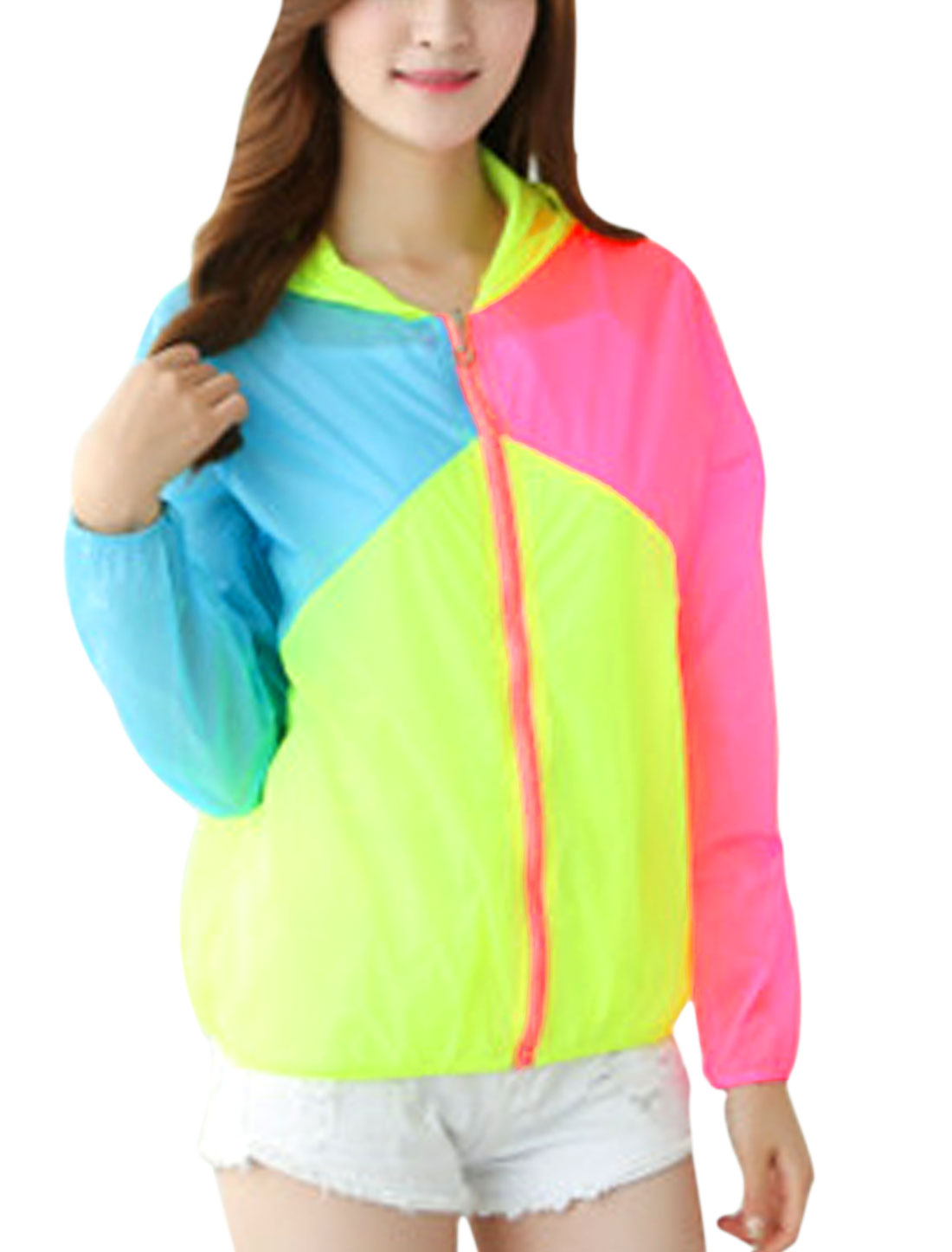 Lady Color Block Long Sleeves Elastic Cuffs Summer Hoodies Hot Pink Blue XS