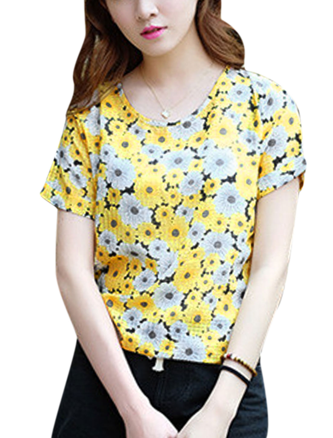 Woman Flower Prints Round Neck Short Sleeves Slipover Top Yellow XS