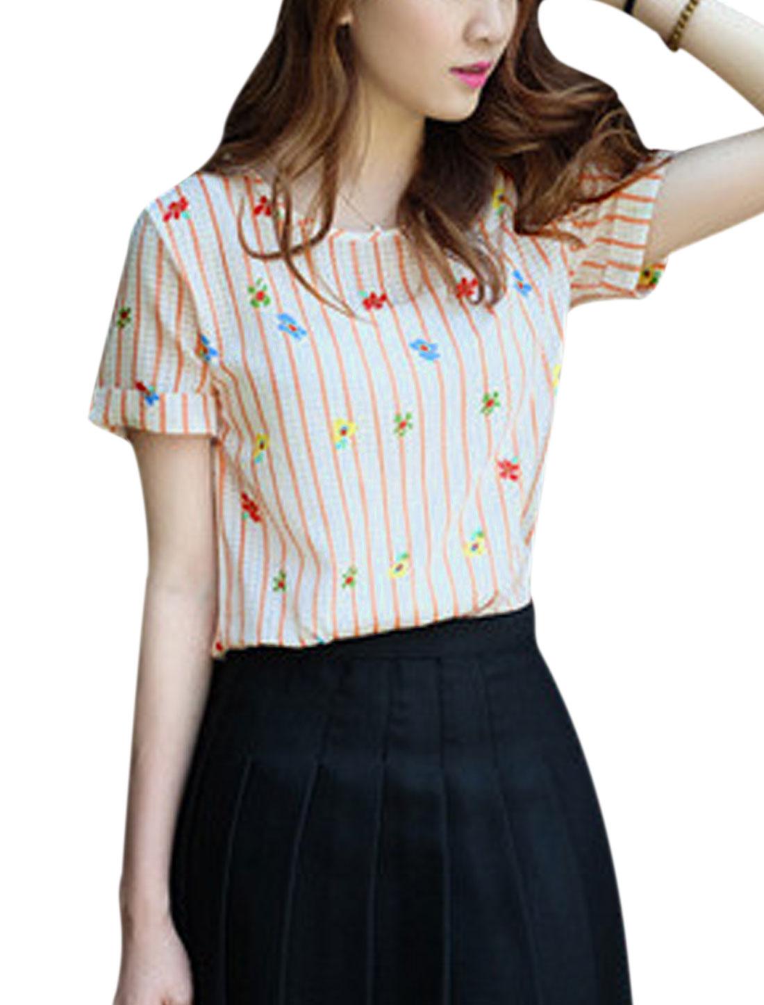 Woman Vertical Stripes Floral Prints Checks Casual Top Orange Red XS