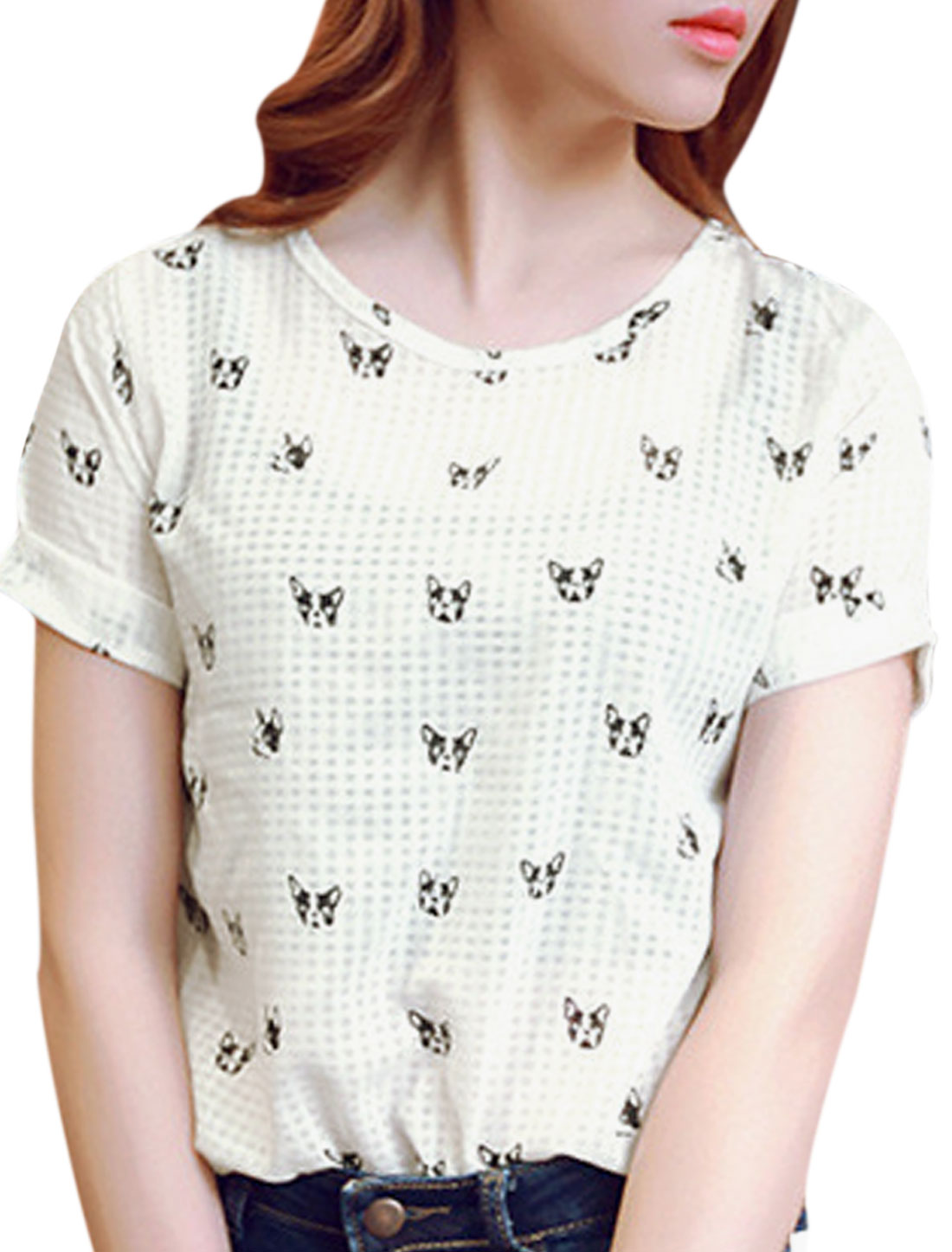 Woman Dogs Pattern Round Neck Short Sleeves Casual Top Black XS