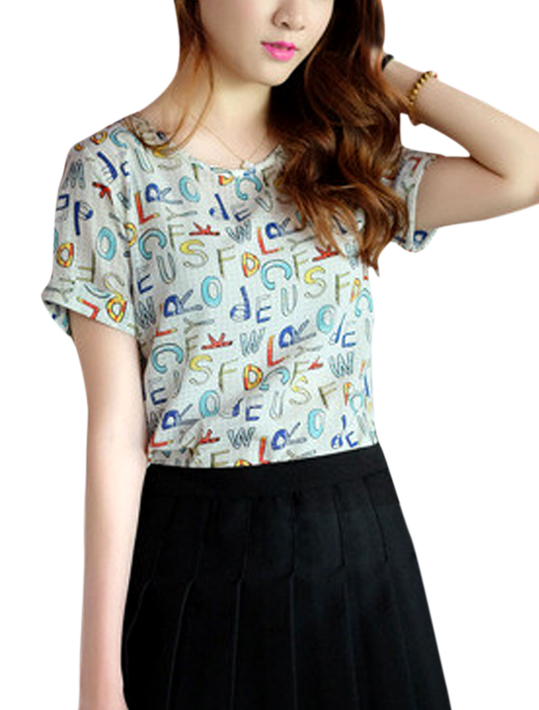 Woman Letters Prints Round Neck Short Sleeves Slipover T-shirts Multicolor XS