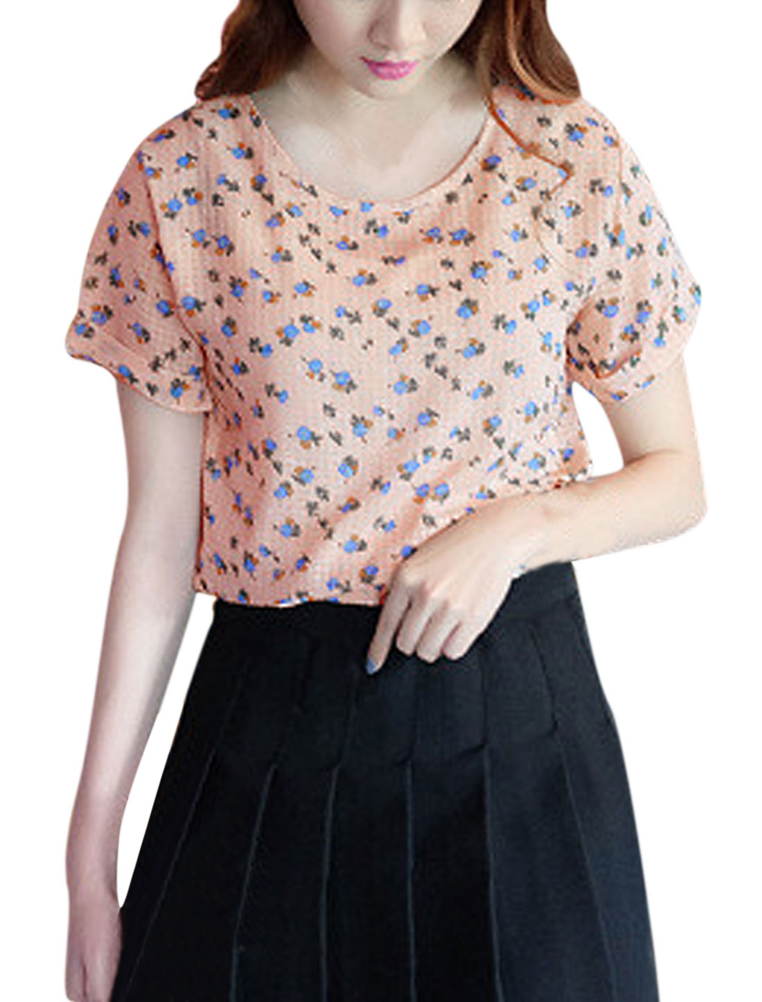 Woman Floral Prints Checks Round Neck Short Sleeves T-shirt Pale Pink XS