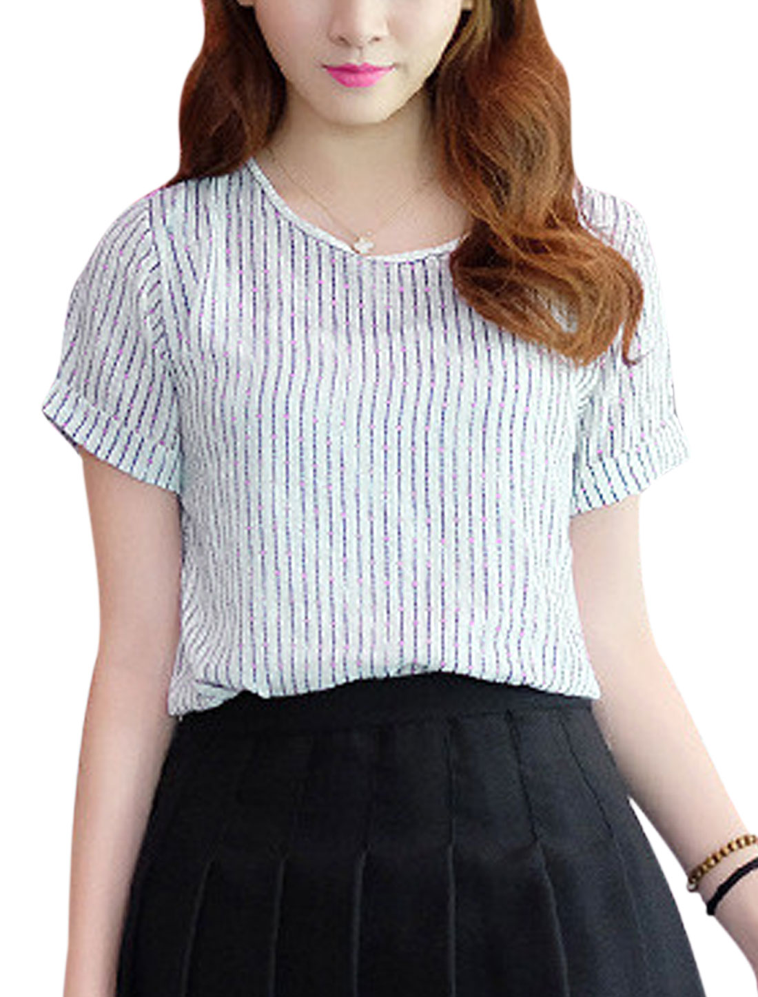 Woman Vertical Stripes Dots Prints Short Sleeves Casual Top Dark Blue Pink XS