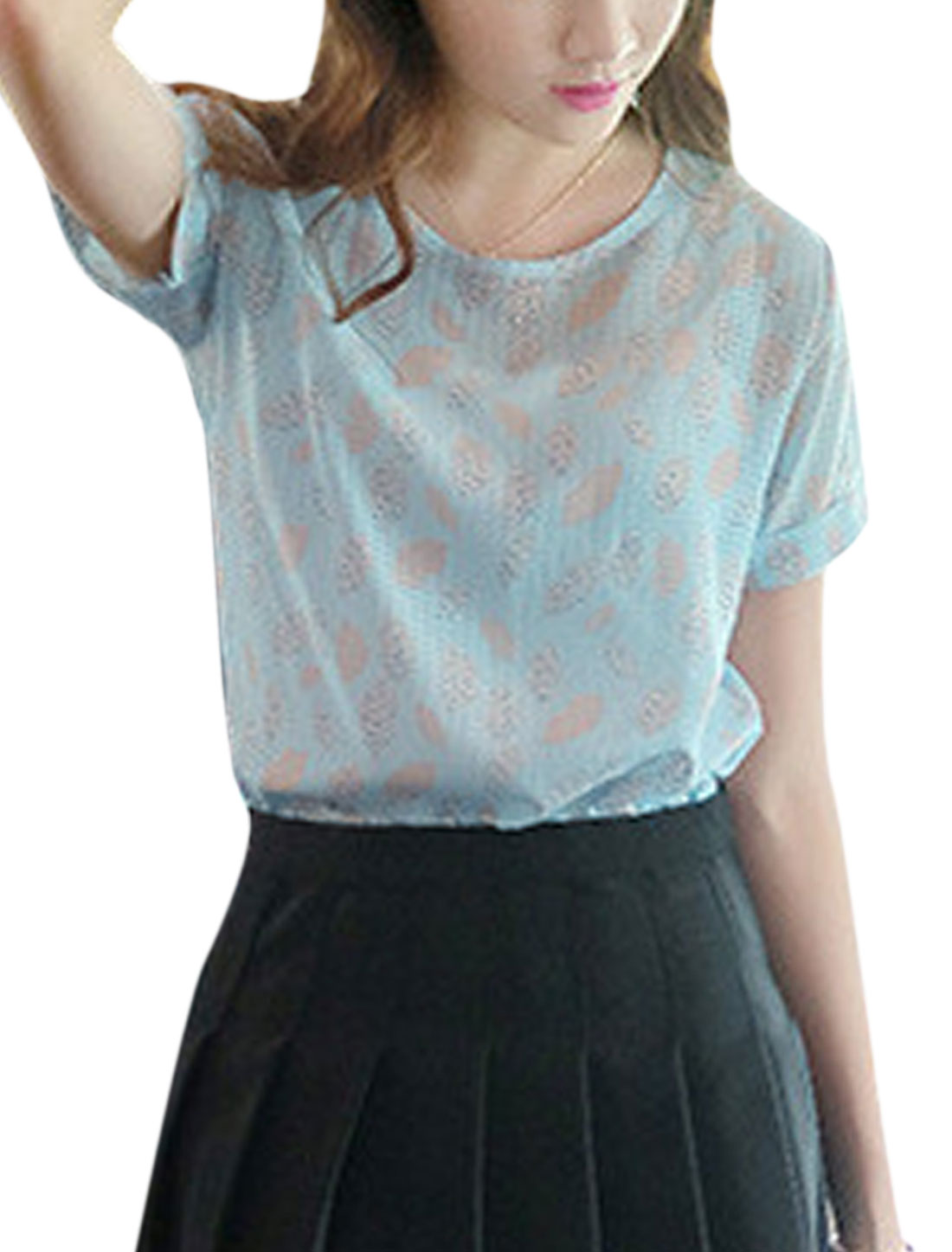 Woman Lips Pattern Round Neck Short Sleeves Slipover Casual Top Baby Blue XS