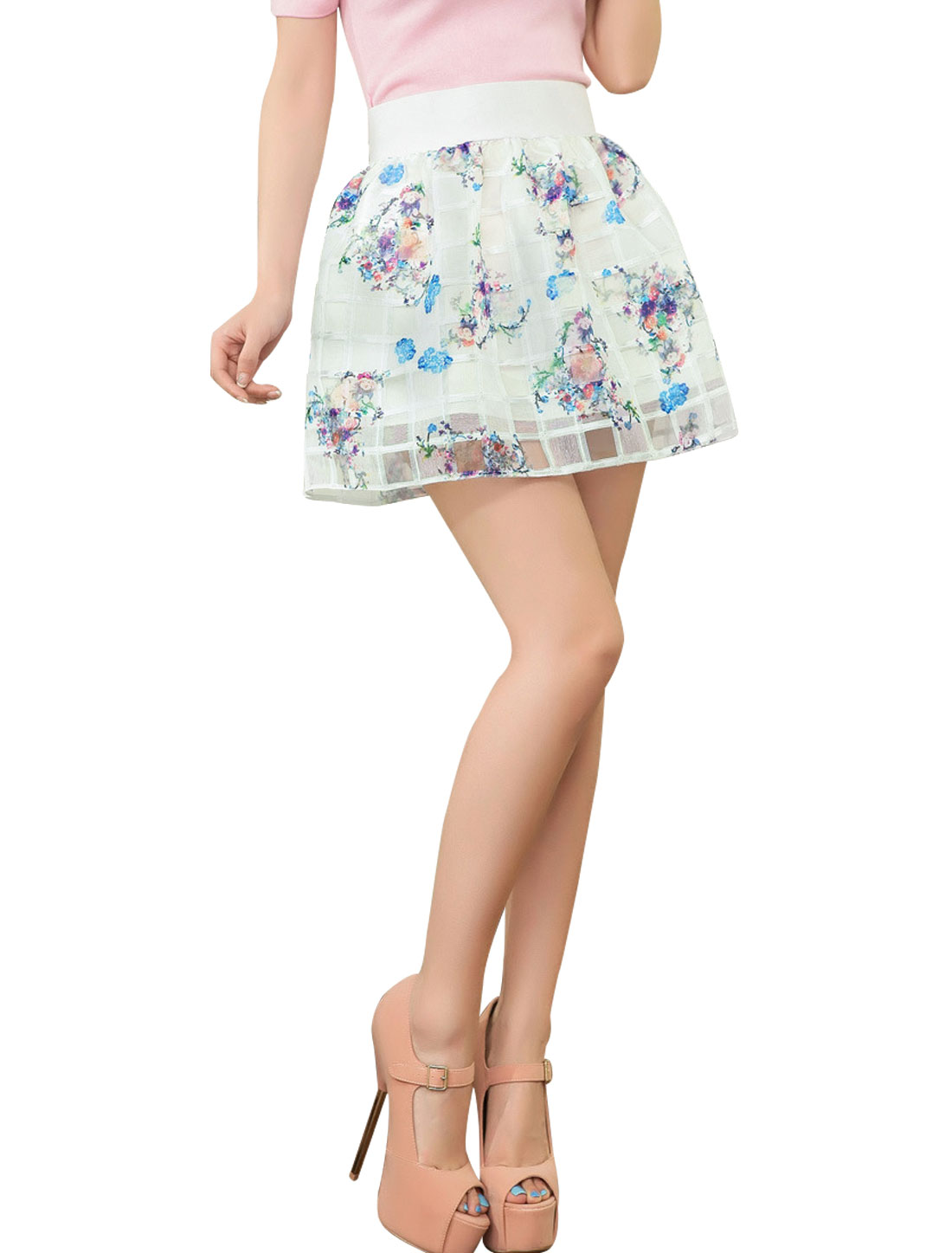 Woman Floral Plaids Design Elastic Waist Band Skirt White Blue /S (US 4)