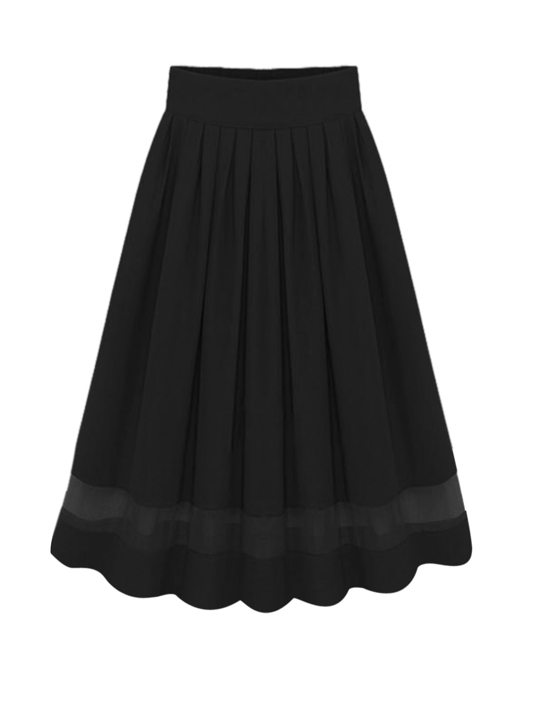 Woman Organza Panel Half Lined Pleated Detail High Waist Chiffon Skirt Black M