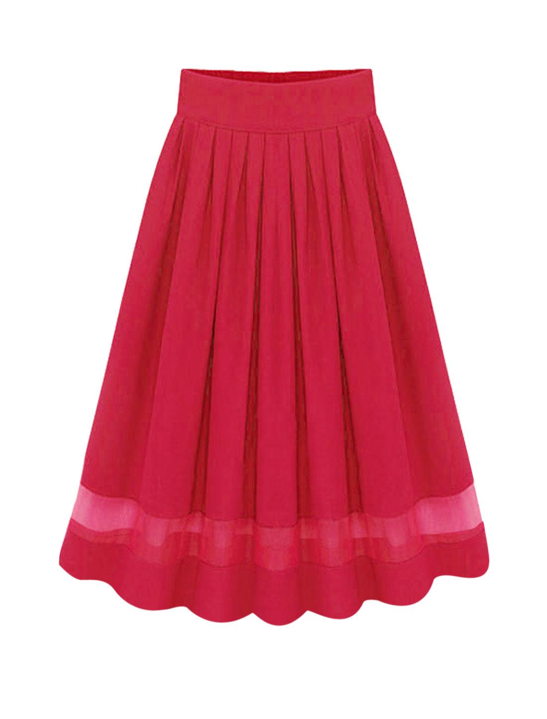 Woman Organza Panel Partially Lined High Waist Chiffon Skirt Fuchsia M