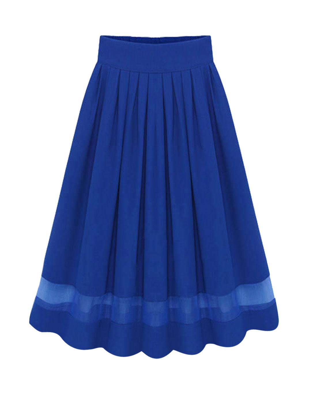 Woman Organza Panel Pleated Detail High Waist A Line Chiffon Skirt Dark Blue M