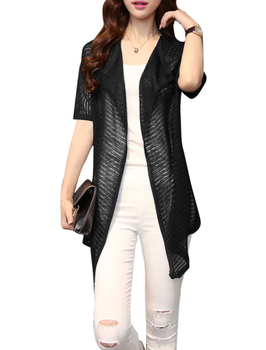 Women Short Sleeves Front Opening Shadow Stripes Knitted Cardigan Black S
