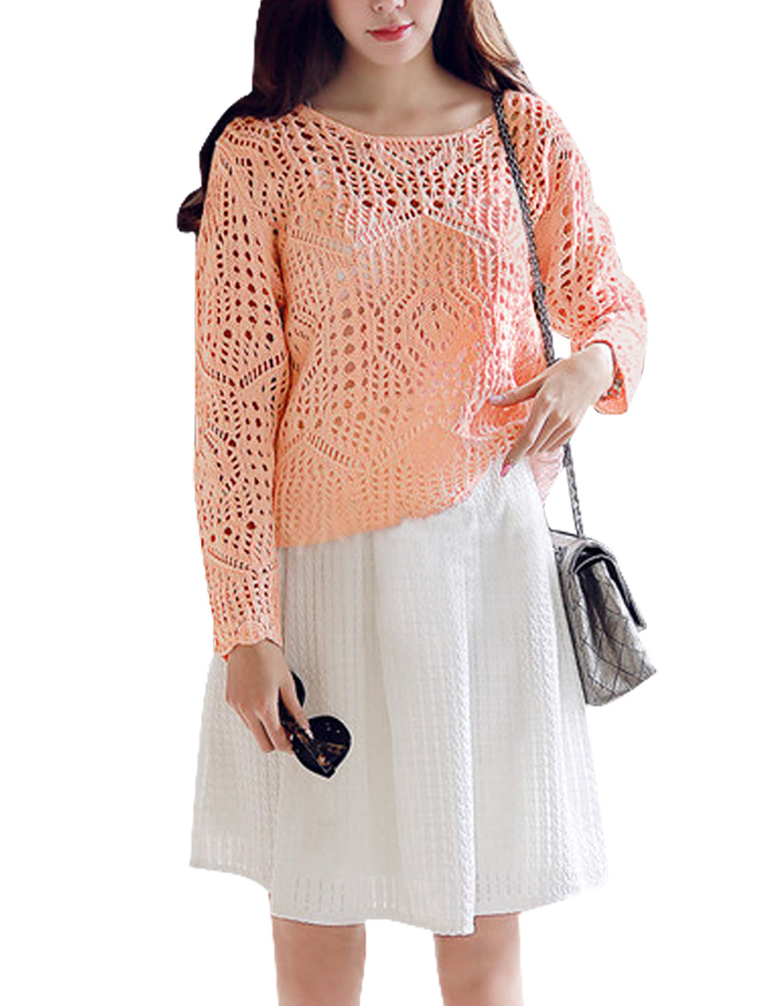 Woman Hollow Out Scoop Neck Long Sleeves Slipover Casual Sweater Pink S