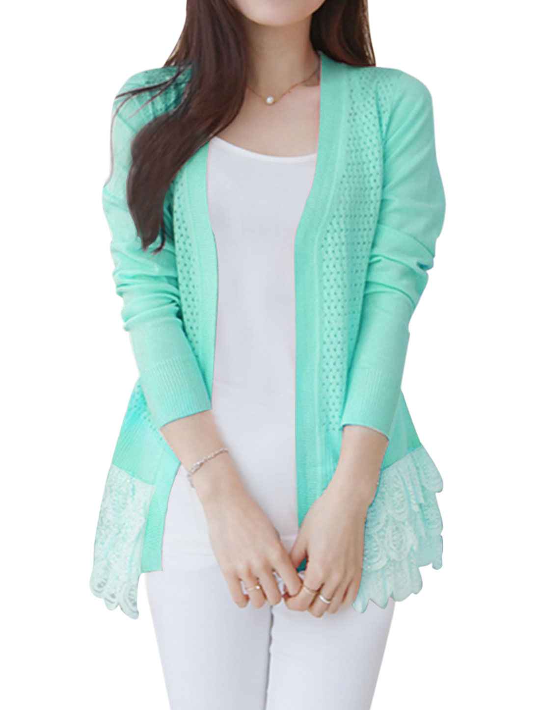 Woman Hollow Out Lace Panel Front Opening Peplum Knit Cardigan Mint XS