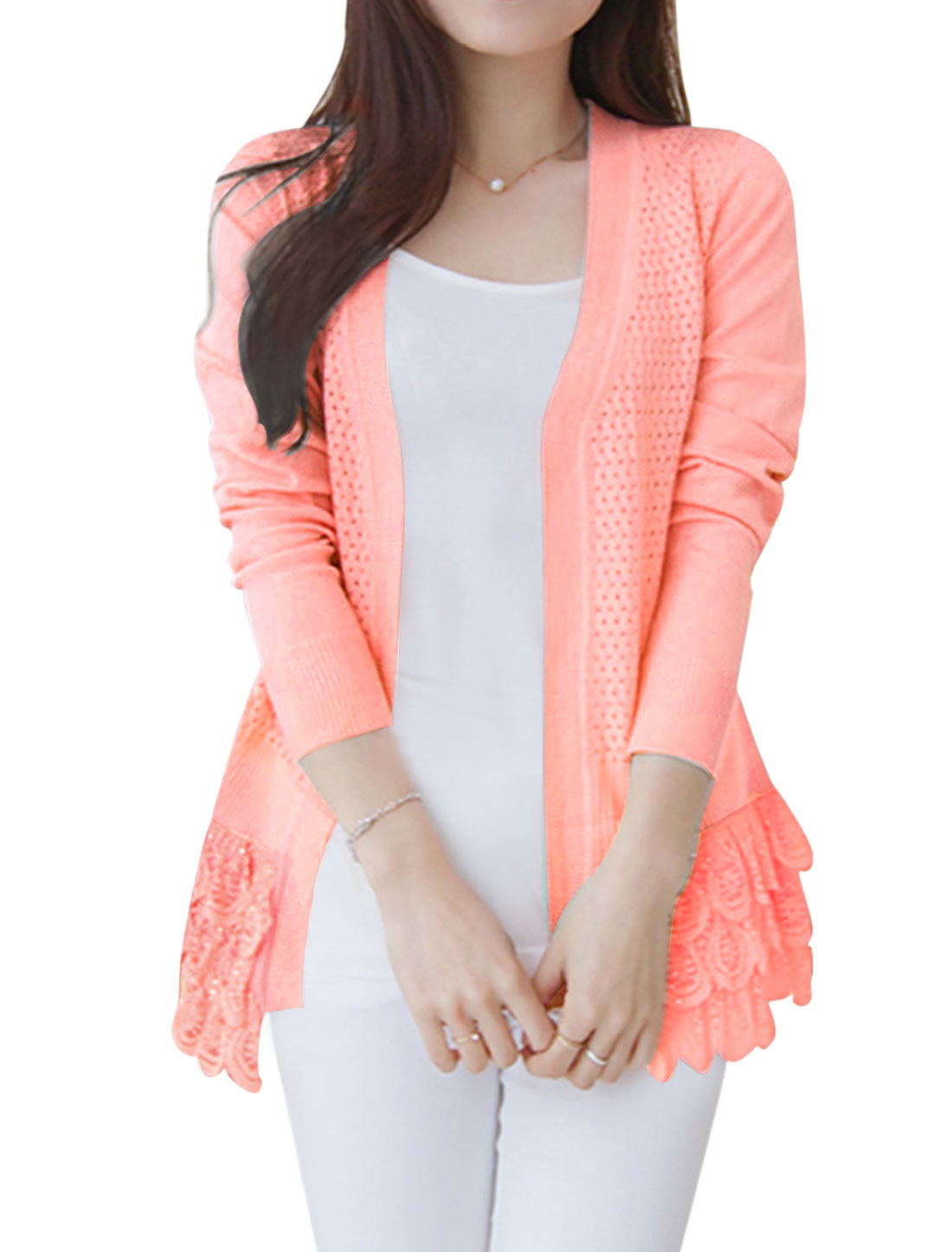 Woman Hollow Out Lace Panel Long Sleeves Scalloped Hem Knit Cardigan Pink XS