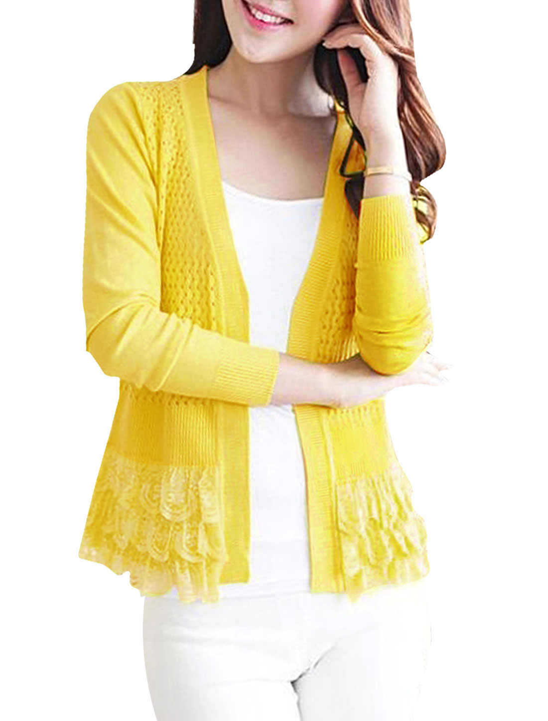 Woman Hollow Out Lace Panel Long Sleeves Peplum Knit Cardigan Yellow XS