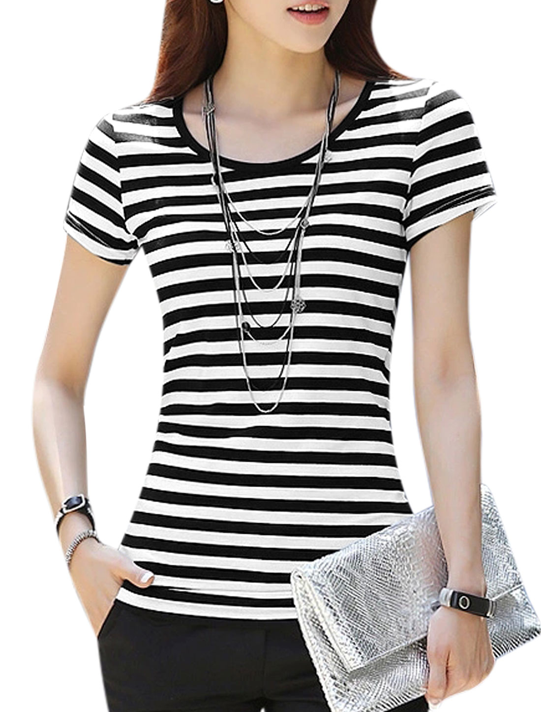 Woman Stripes Scoop Neck Floral Design Hollow Out Back Tee Black White XS