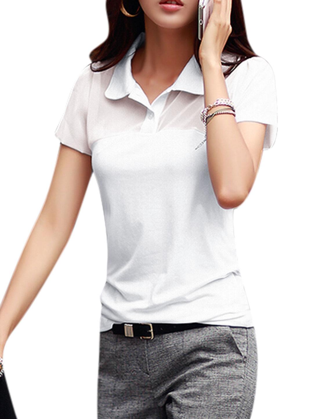 Women Turn Down Collar Short Sleeves Semi Sheer Yoke Polo Shirts White M
