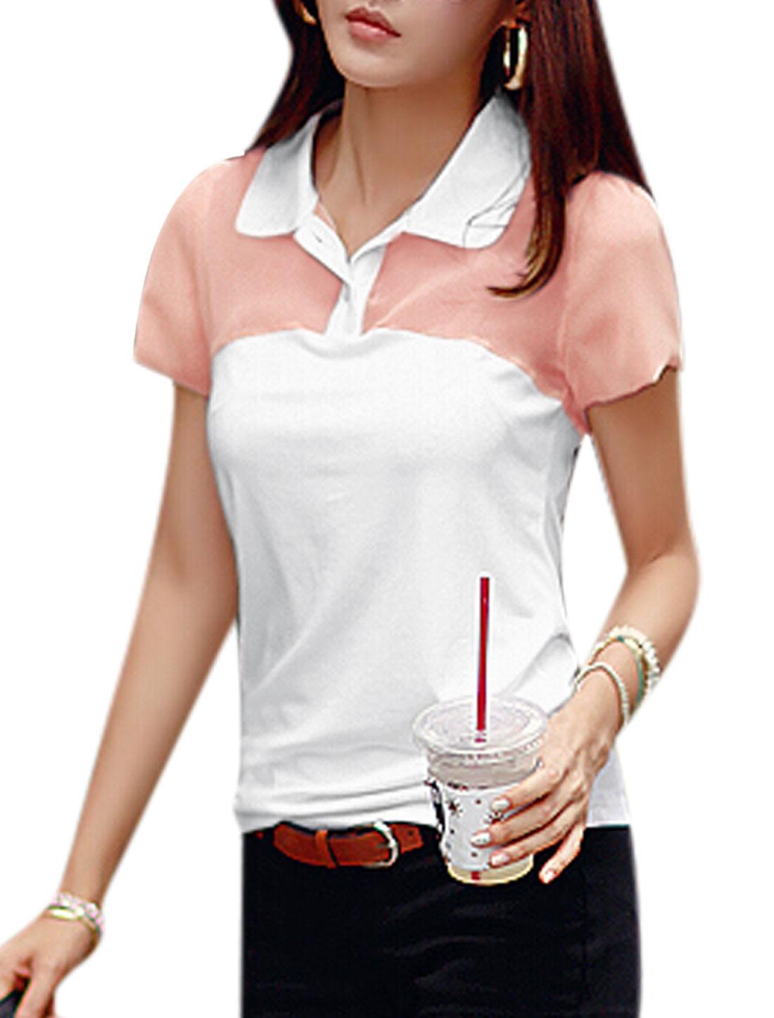 Women Semi Sheer Yoke Short Sleeves Casual Shirts Salmon White XS