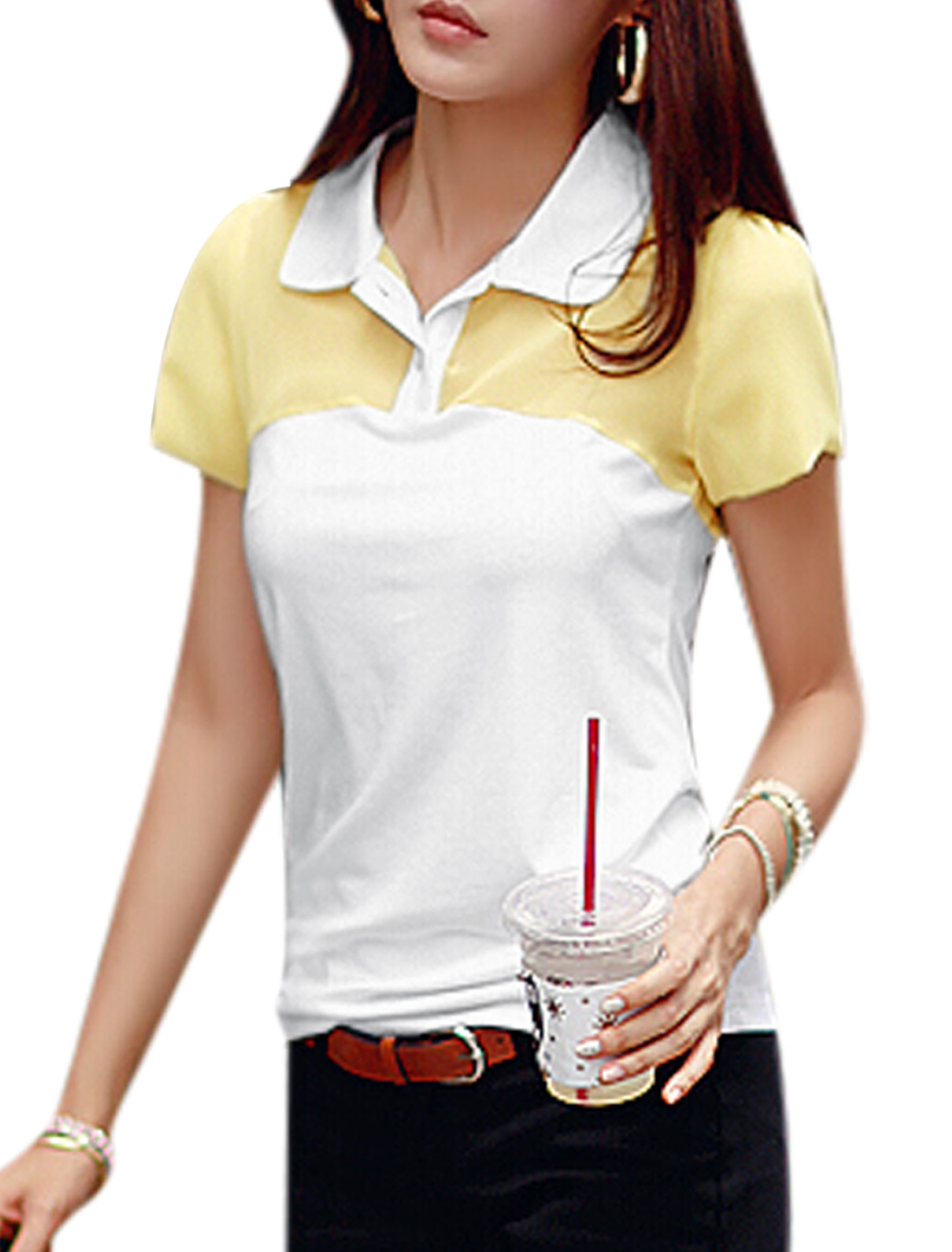 Lady Turn Down Collar Short Sleeves Tops Yellow White XS