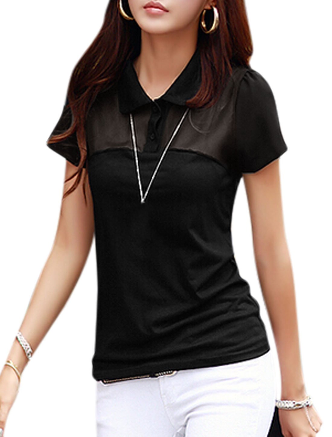 Women Short Sleeves Panel Design Semi Sheer Yoke T-Shirts Black XS