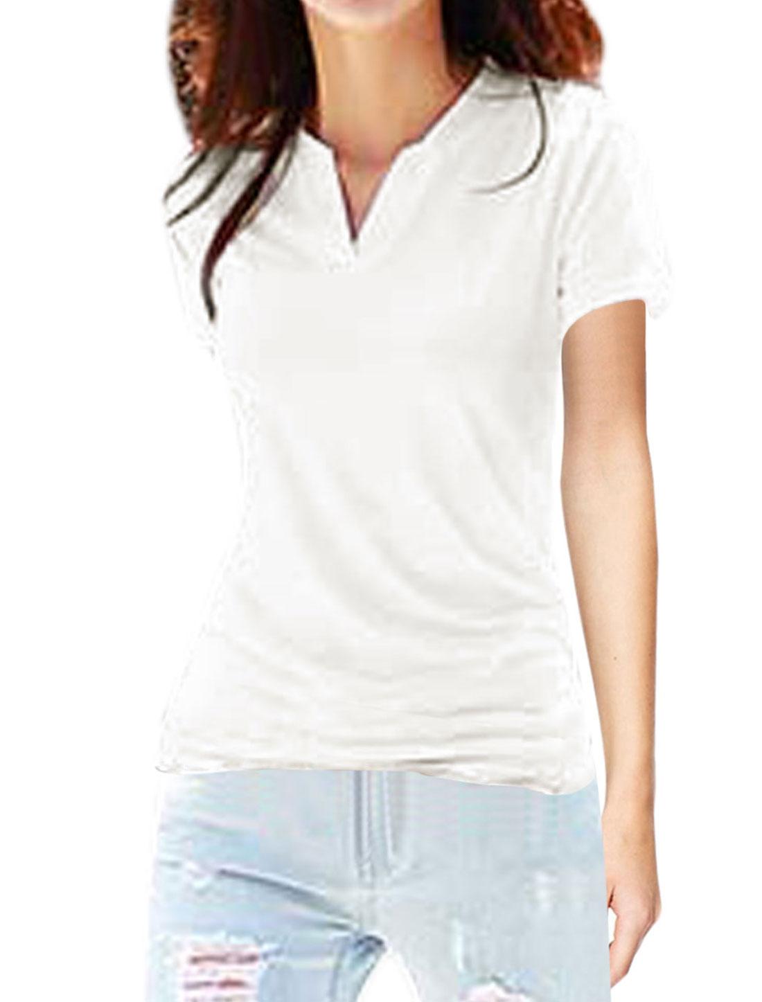 Women Split Neckline Short Sleeves T-Shirts White XS