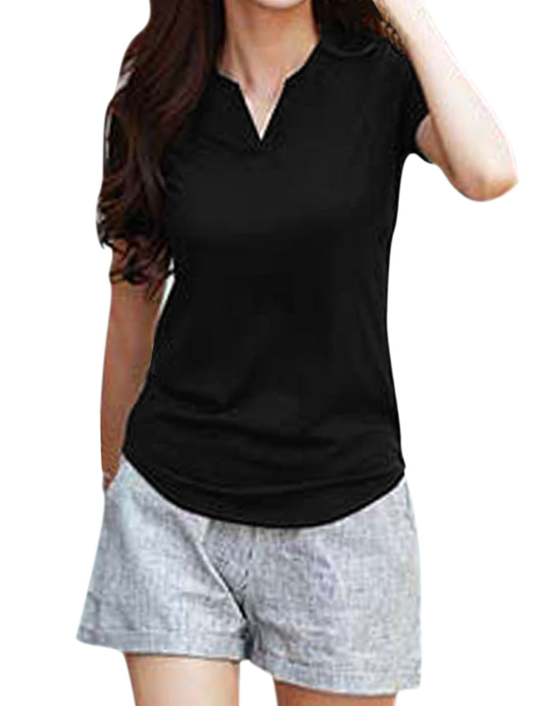 Lady Split Neckline Short Sleeves Casual Tops Black XS