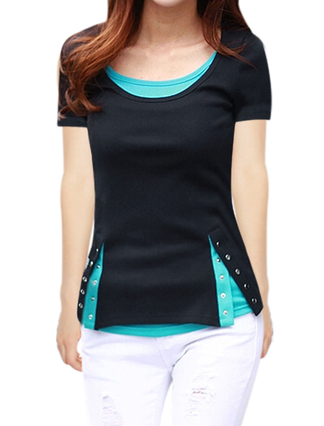 Women Round Neck Layered Color Block Short Sleeves T-Shirts Black S