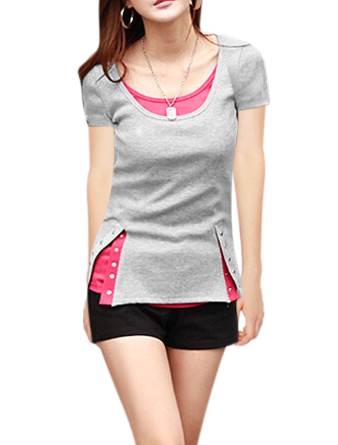 Women Short Sleeves Snap Fastener Up Sides Casual Tops Gray S
