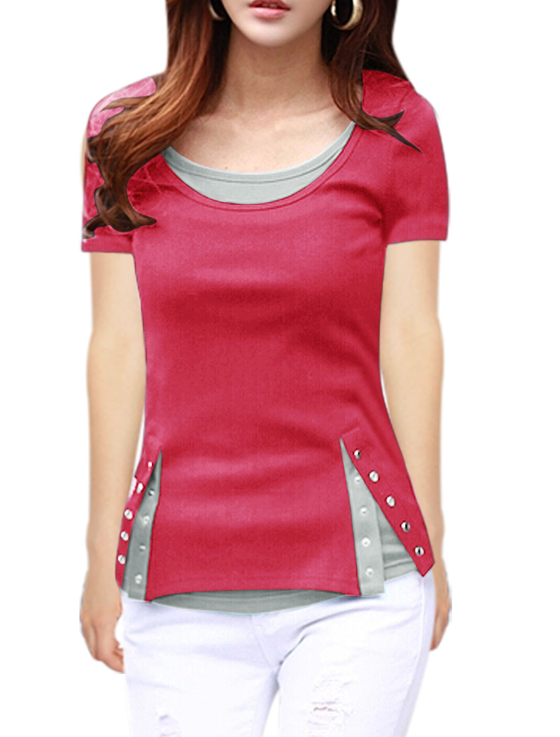 Women Short Sleeves Layered Color Blocking Tee Shirts Fuchsia S