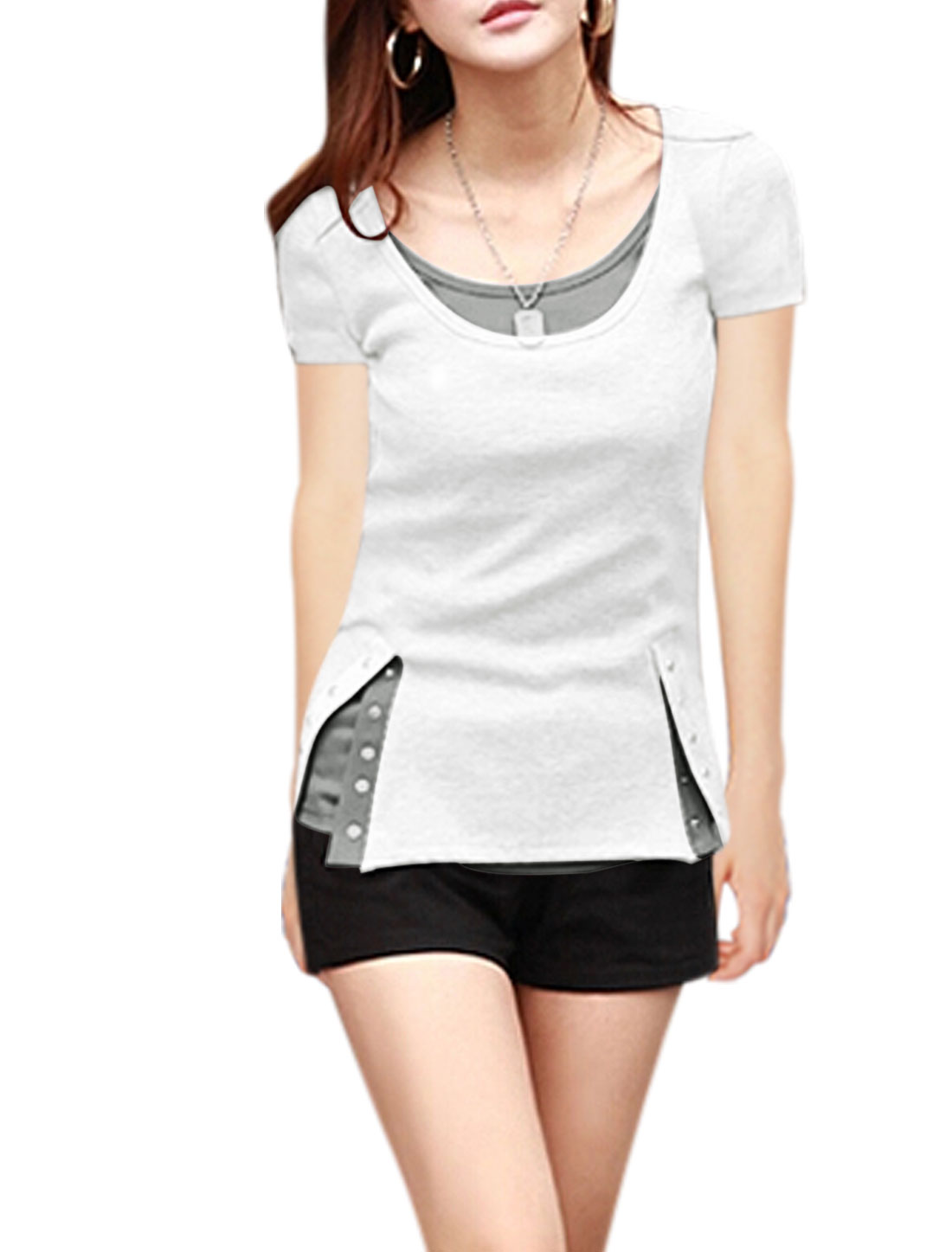 Ladies Short Sleeves Button Fastener Up Sides T-Shirts White M