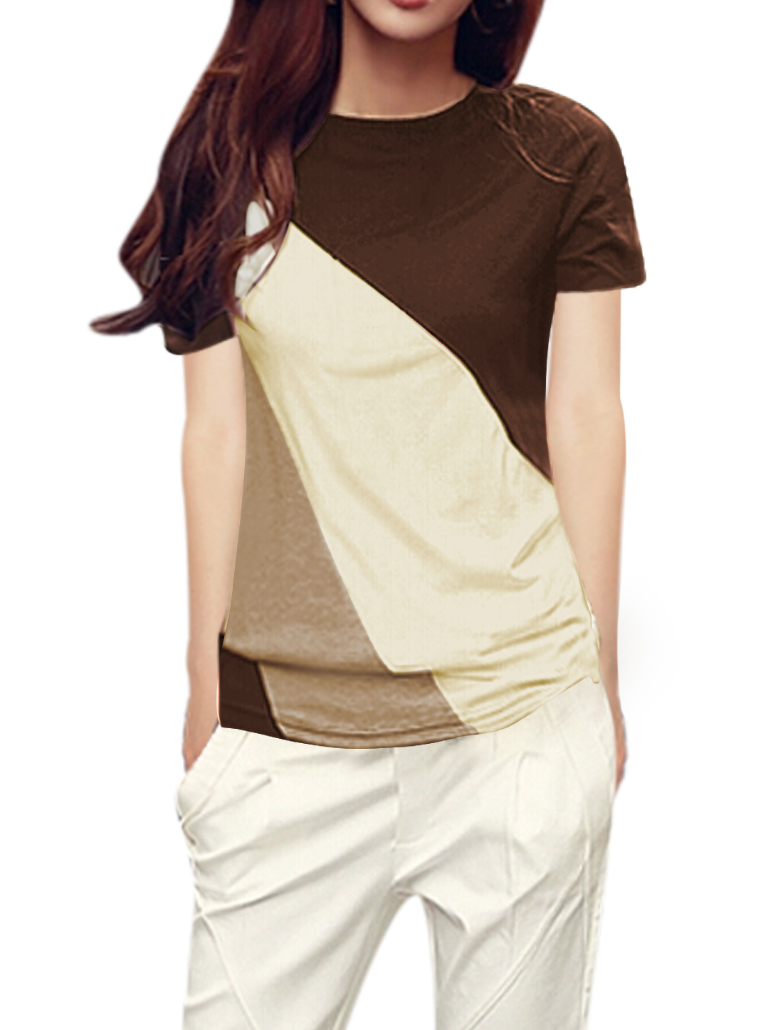 Women Round Neck Short Sleeves Color Blocked T-Shirts Brown Beige M