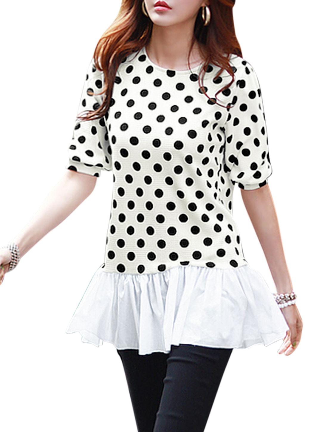 Woman Dots Prints Elbow Sleeves Flouncing Hem Panel Tunic Dress Beige White M