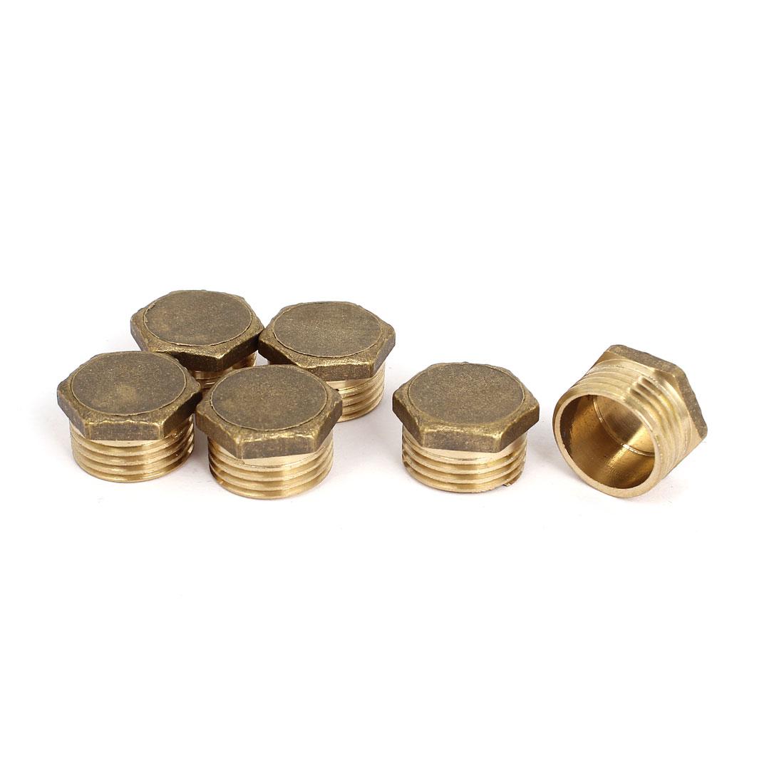 1/2BSP 20mm Thread Fuel Water Air Brass Pipe Hex Head Fitting 6 Pcs