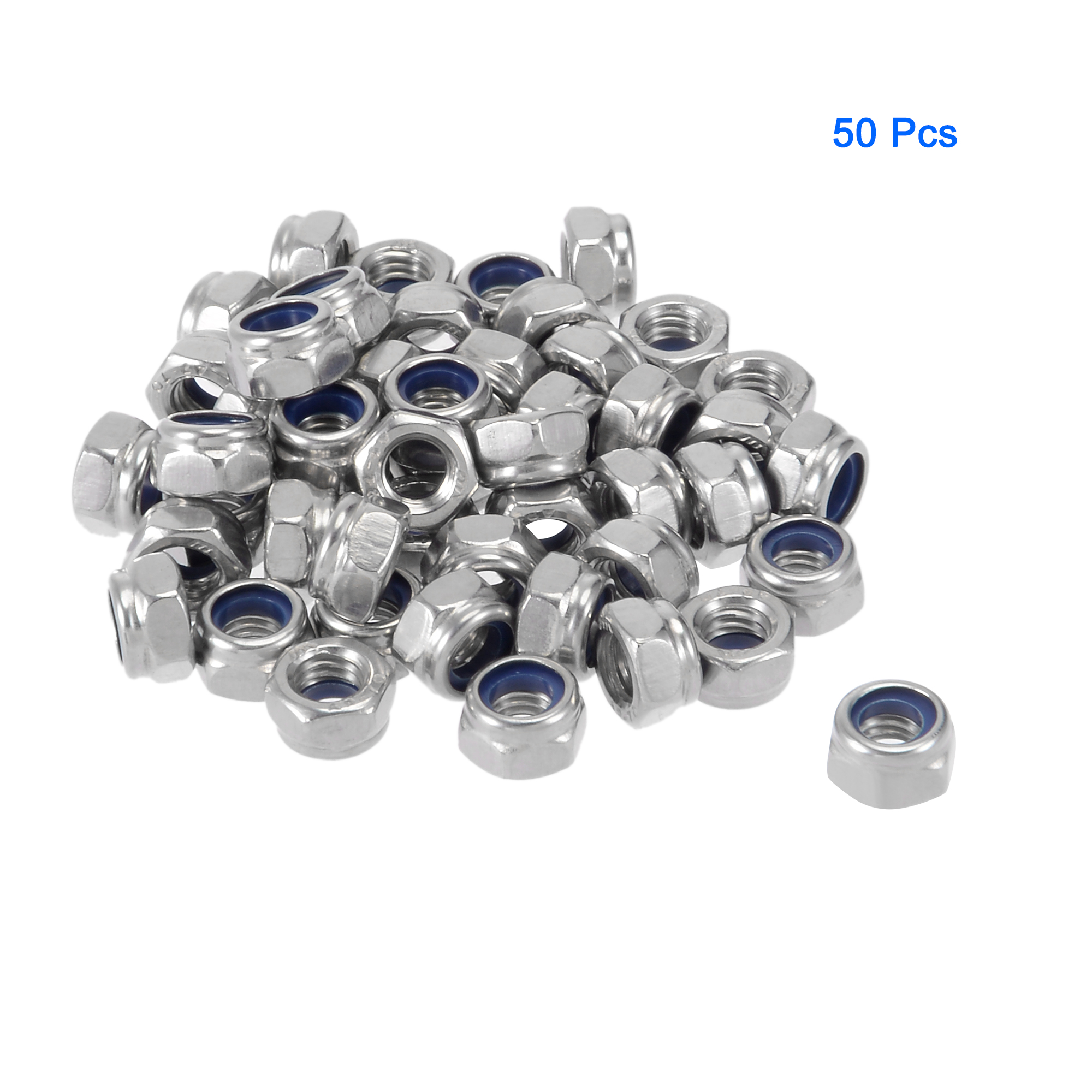 M5 x 0.8mm 304 Stainless Steel Nylock Nylon Insert Hex Lock Nuts 50pcs