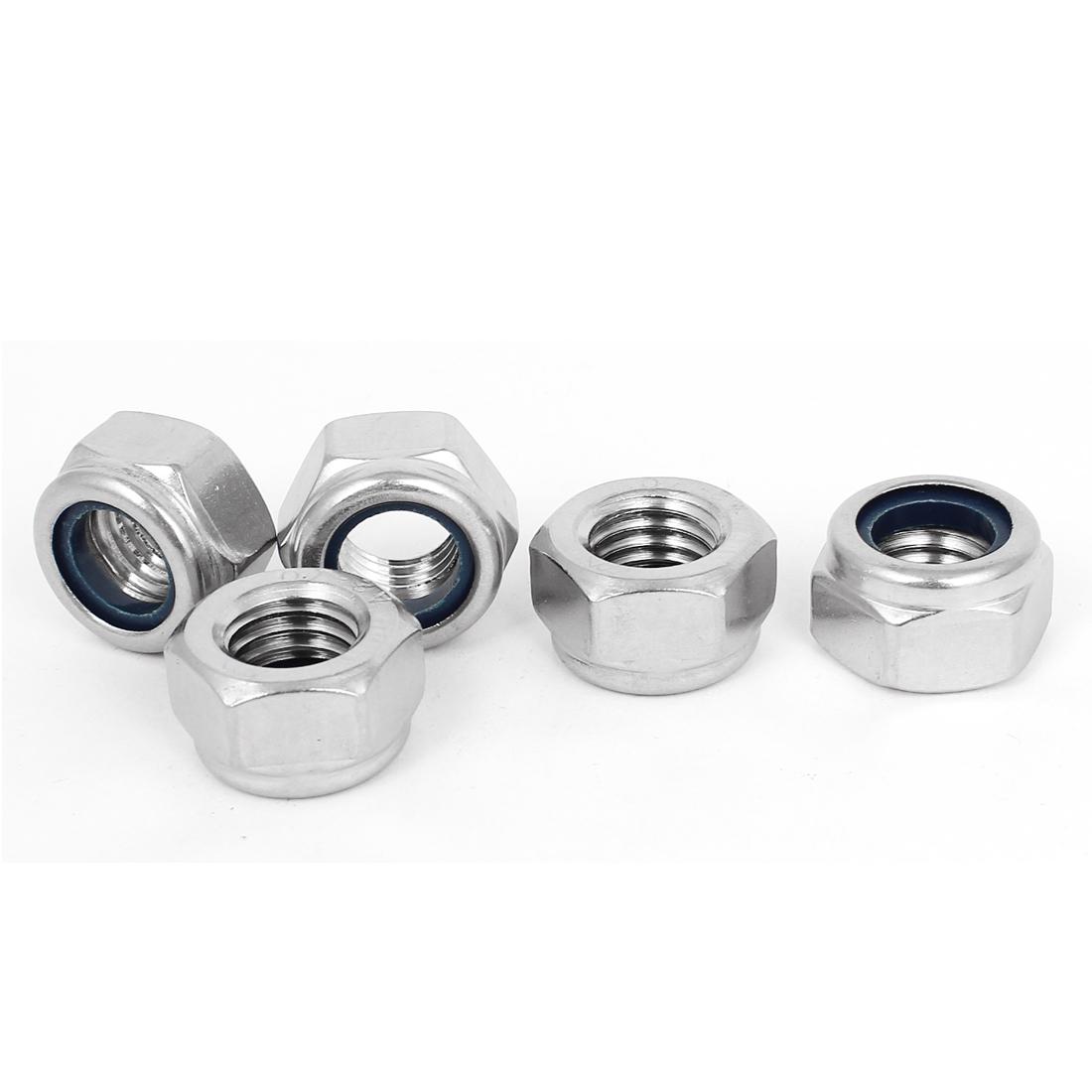 M14x2mm 304 Stainless Steel Nylock Self-Locking Nylon Insert Hex Lock Nuts 5pcs