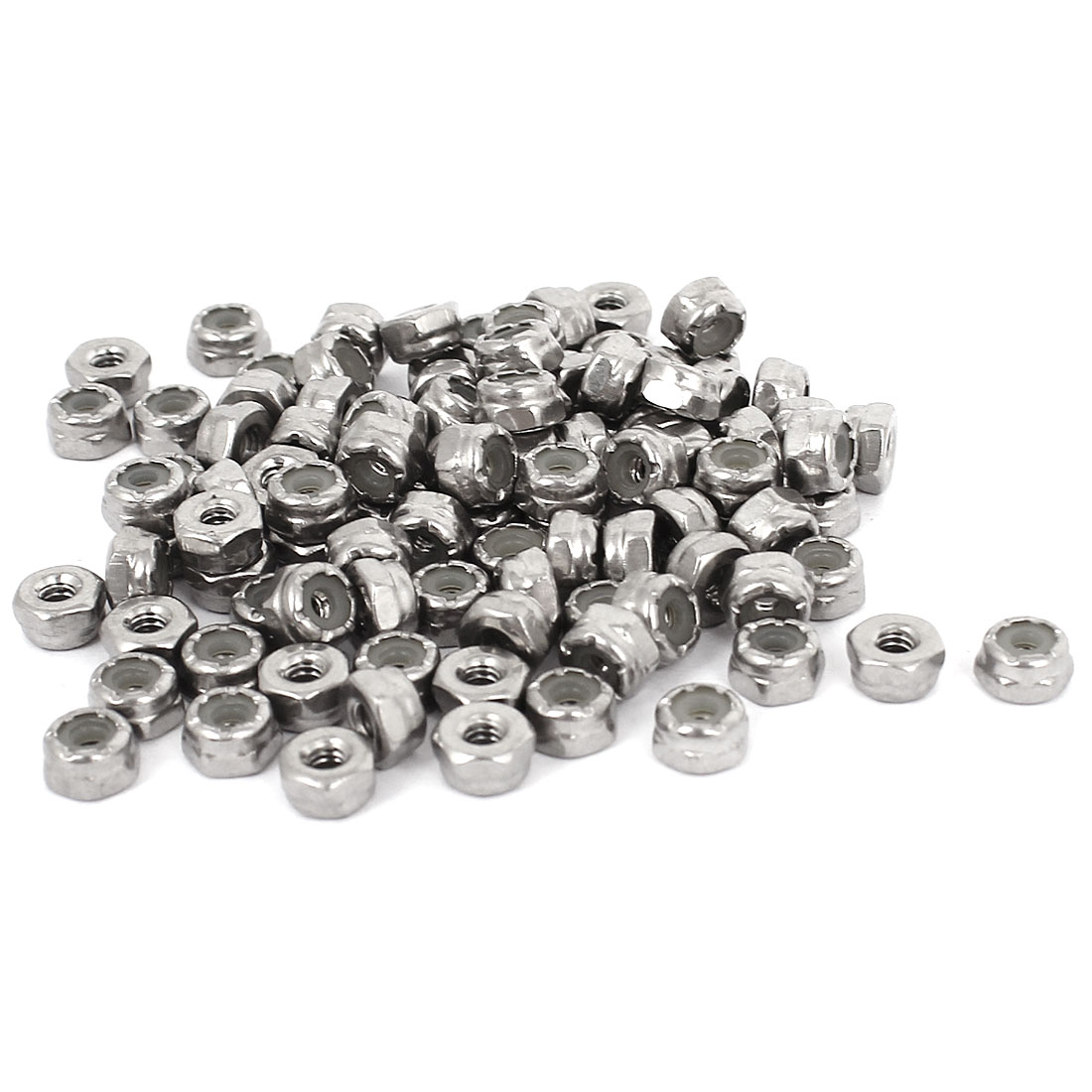 100pcs 304 Stainless Steel Nylock Self-Locking Nylon Insert Hex Lock Nuts #4-40