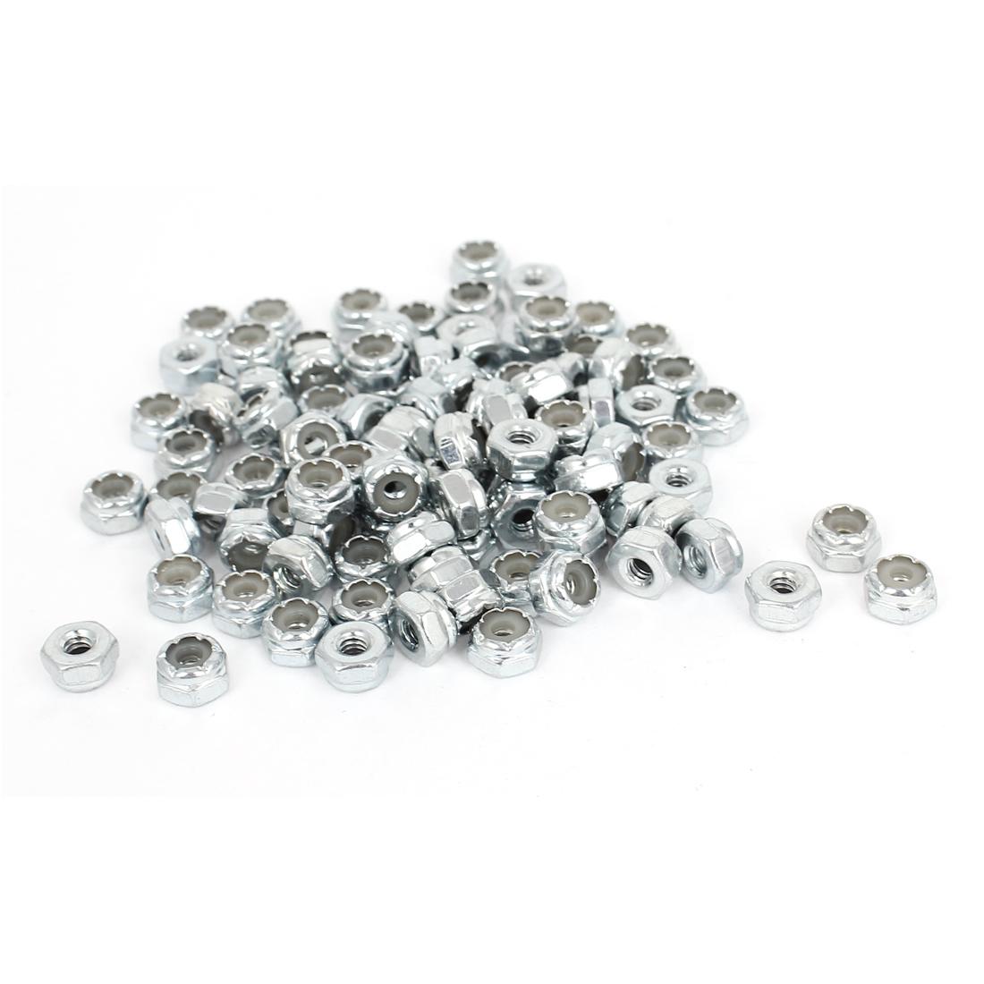 100pcs Zinc Plated Nylock Self-Locking Nylon Insert Hex Lock Nuts #6-32