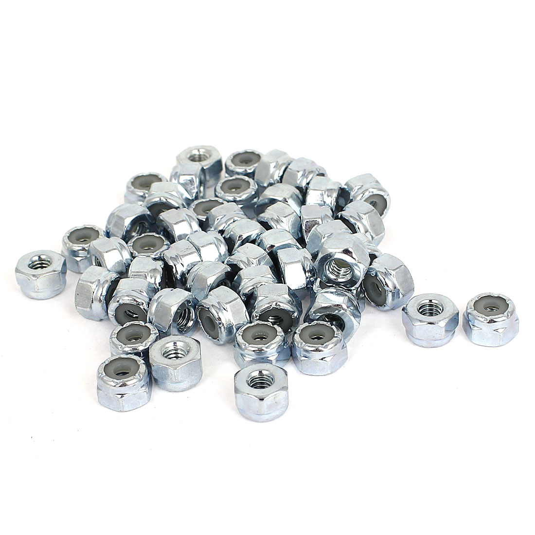 50pcs Zinc Plated Nylock Self-Locking Nylon Insert Hex Lock Nuts 8#-32