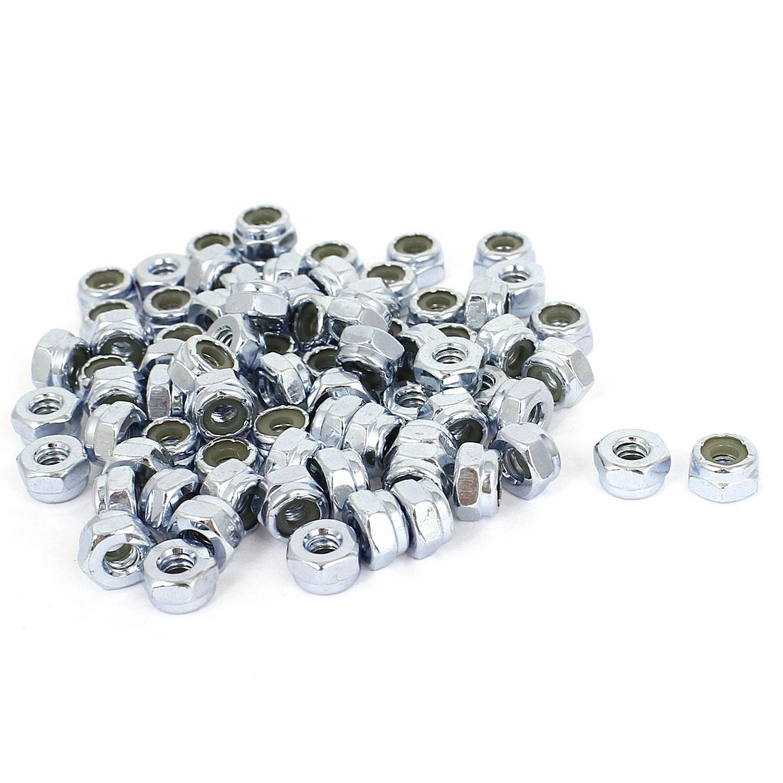 100pcs Zinc Plated Nylock Self-Locking Nylon Insert Hex Lock Nuts #10-24