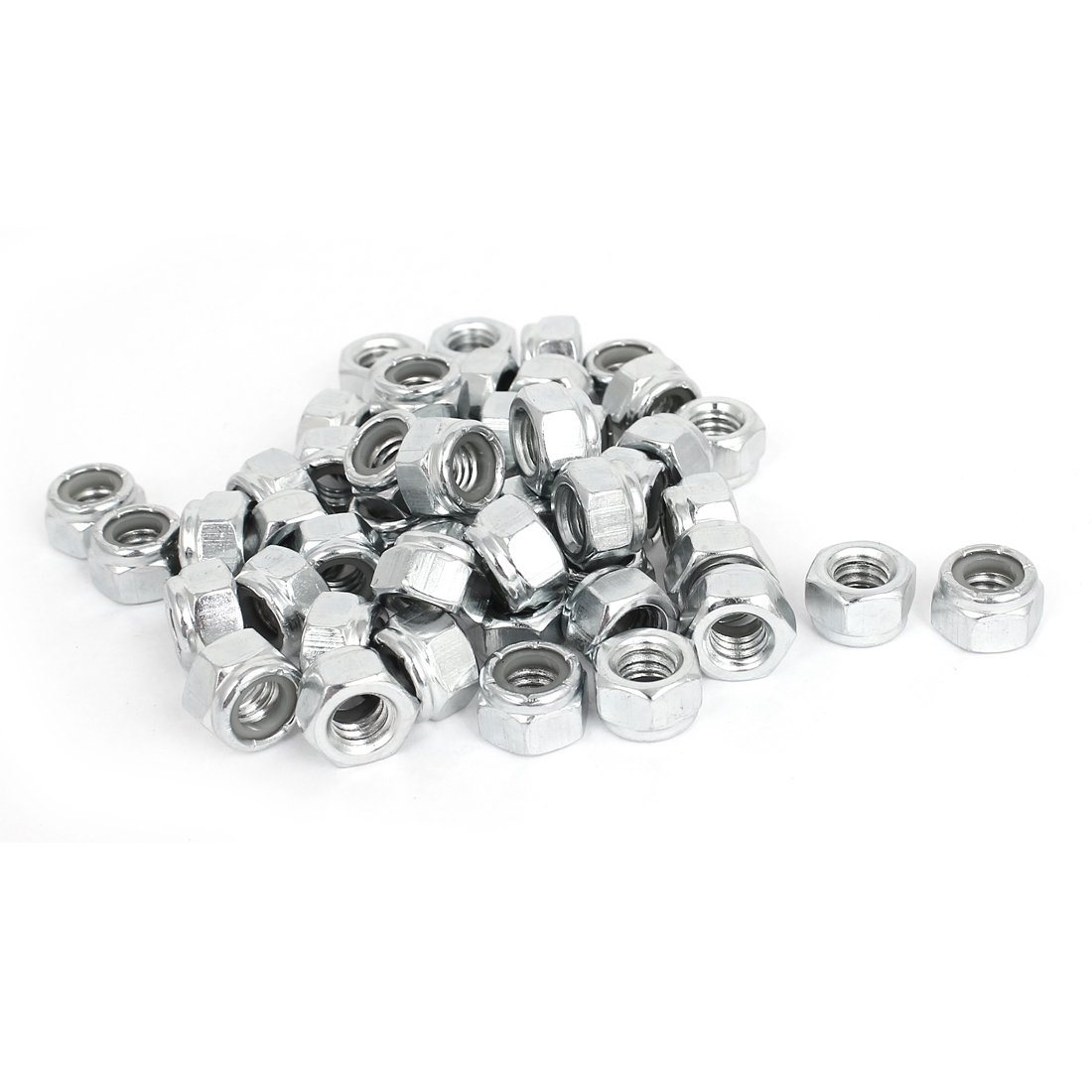 "50pcs Zinc Plated Nylock Self-Locking Nylon Insert Hex Lock Nuts 5/16""-18"