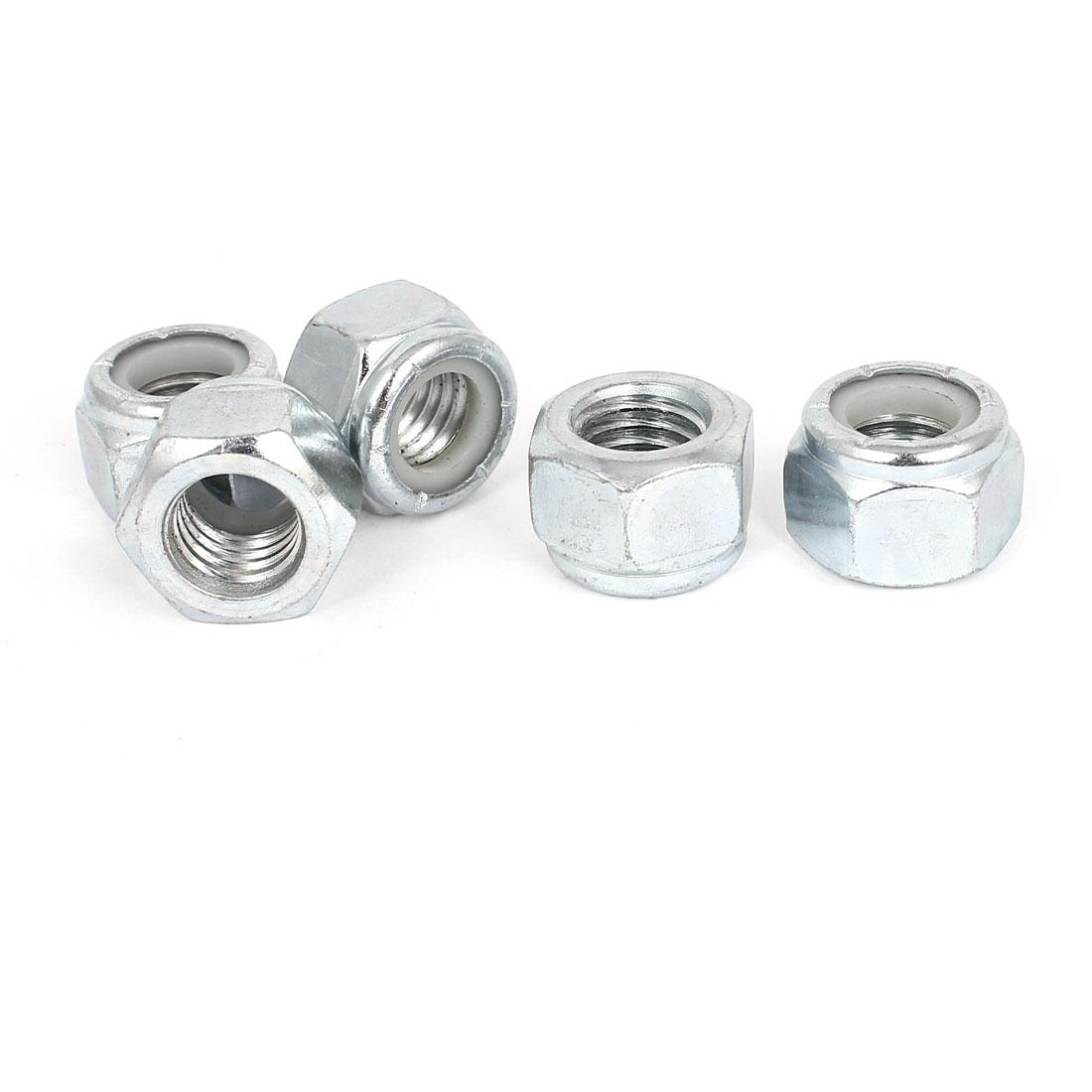 "5pcs Zinc Plated Nylock Self-Locking Nylon Insert Hex Lock Nuts 9/16""-12"