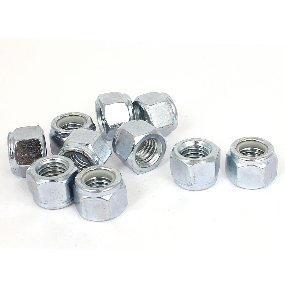 "10pcs Zinc Plated Nylock Self-Locking Nylon Insert Hex Lock Nuts 1/2""-13"