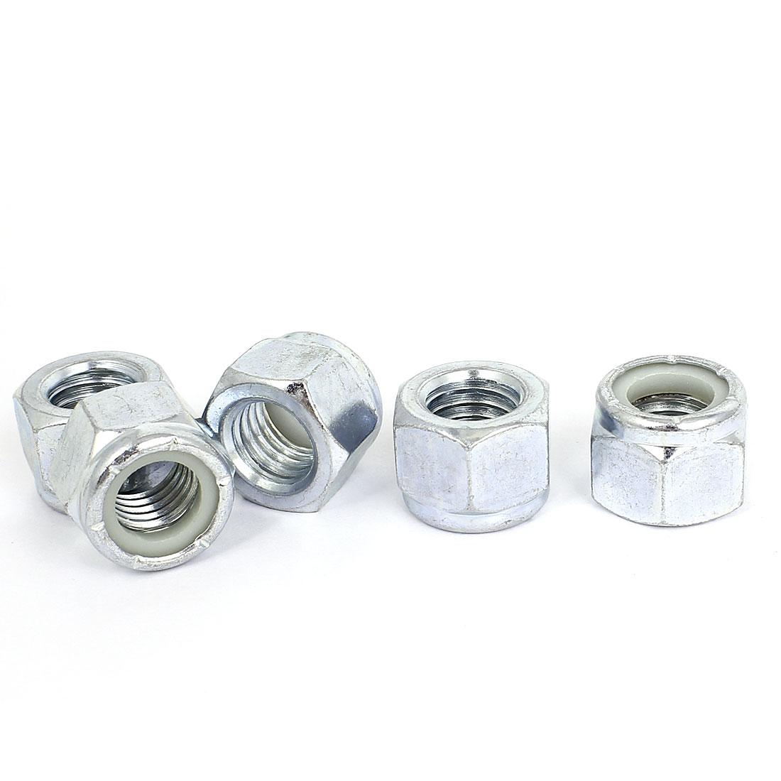"5pcs Zinc Plated Nylock Self-Locking Nylon Insert Hex Lock Nuts 5/8""-11"