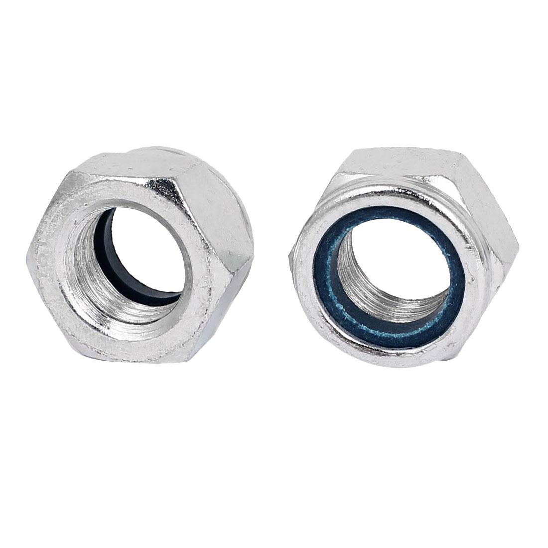 M20 x 2.5mm Zinc Plated Nylock Self-Locking Nylon Insert Hex Lock Nuts 2pcs