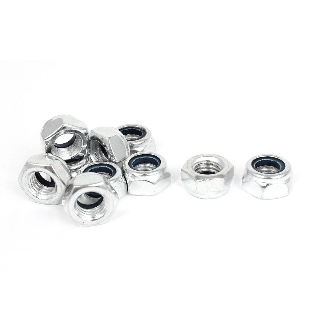 M14 x 2mm Zinc Plated Nylock Self-Locking Nylon Insert Hex Lock Nuts 10pcs
