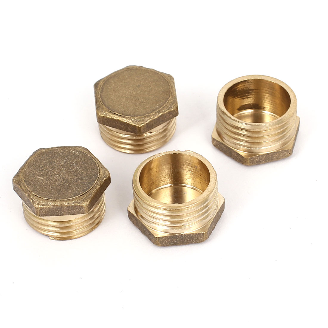 1/2 BSP Male Thread Fuel Water Air Brass Pipe Hex Head Fitting 4 Pcs