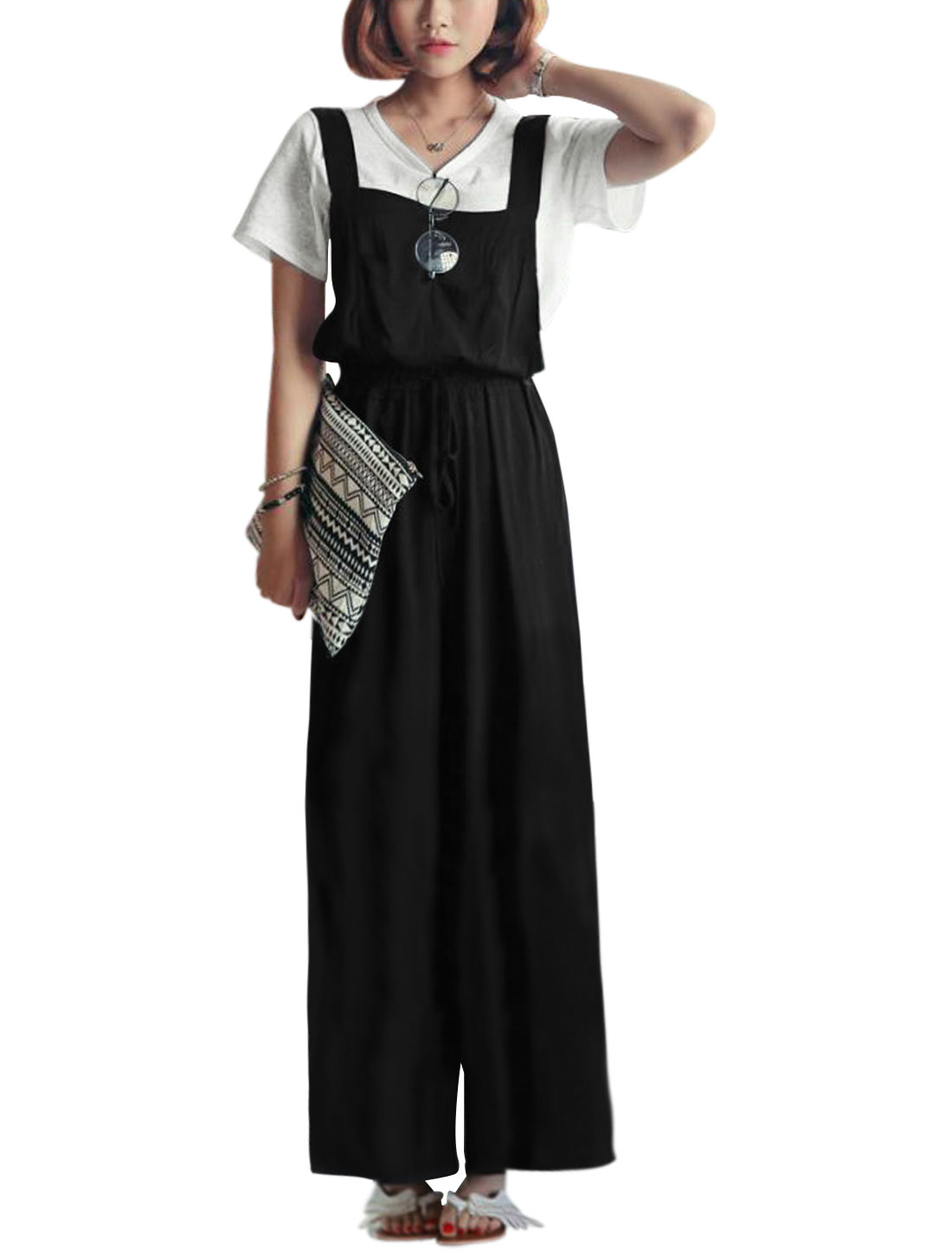 Women Elastic Waist Bow Knot Decor Wide Leg Suspender Pants Black XS
