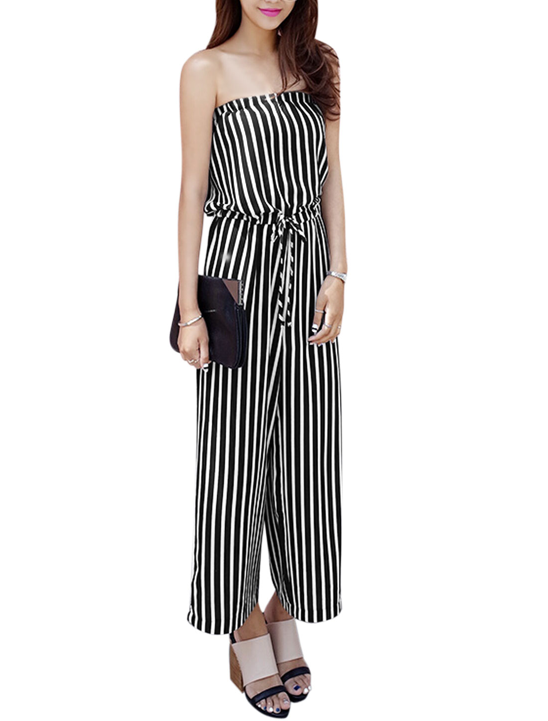 Ladies Sleeveless Stripes Print Elastic Waist Wide Leg Casual Jumpsuit Black White XS